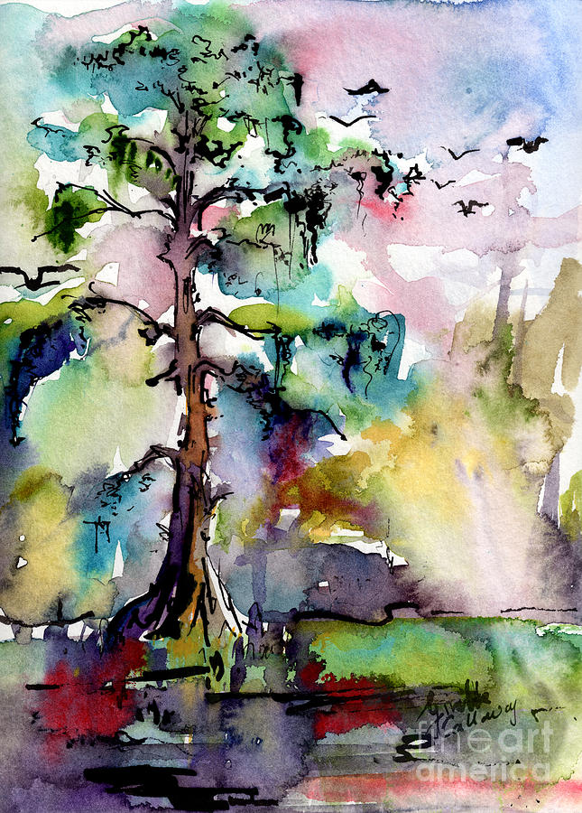 Tree 1 Swamp Cypress Spanish Moss Painting By Ginette Callaway