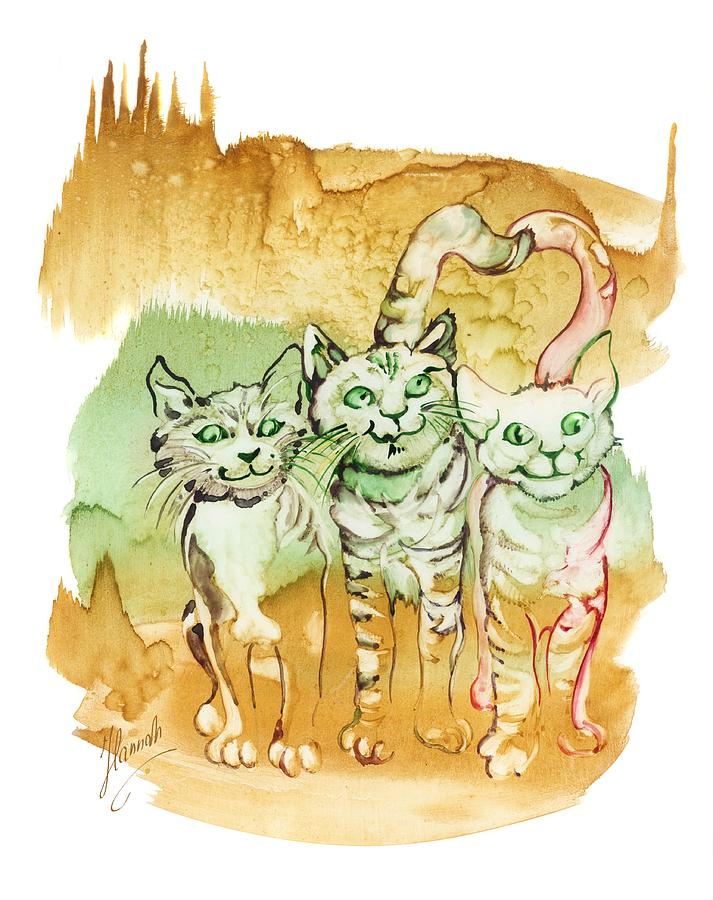 Cat Painting - Tree Brothers  by Anna Ewa Miarczynska