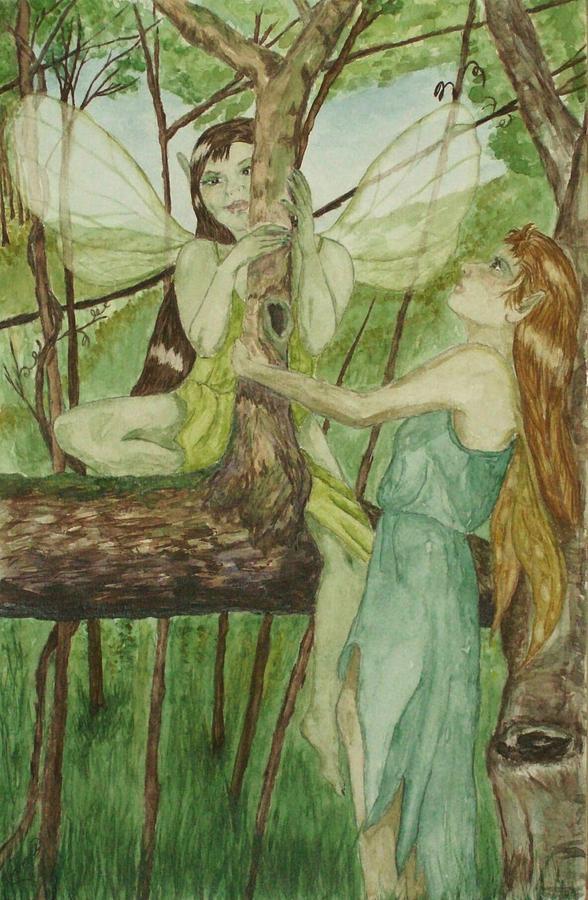 Fairies Painting - Tree Fey by Carrie Viscome Skinner