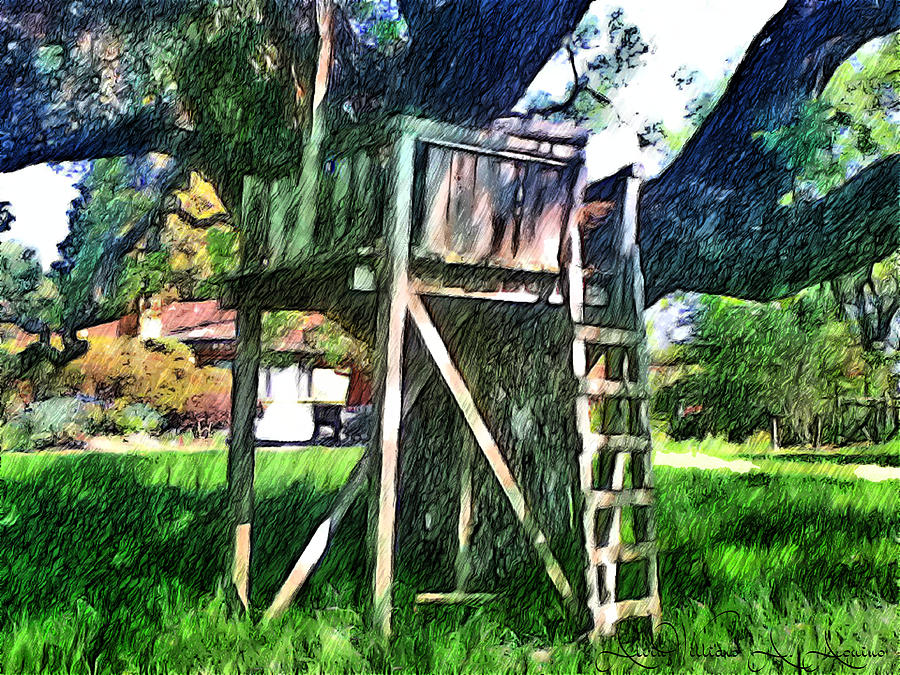 Children Playing Painting - Tree House by Withintensity  Touch