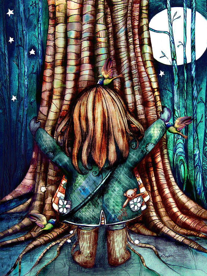 Tree Painting - Tree Hugs by Karin Taylor