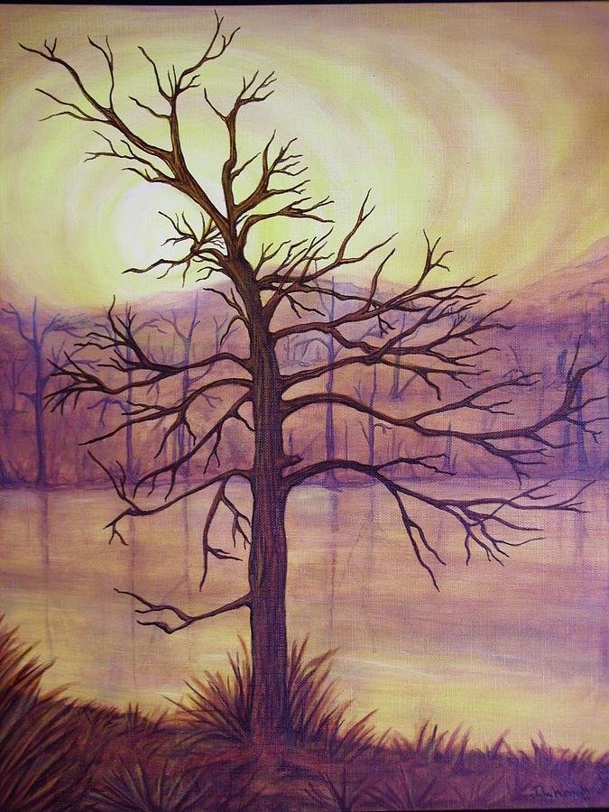 Landscape Painting - Tree In Gold Landscape by Jan Wendt