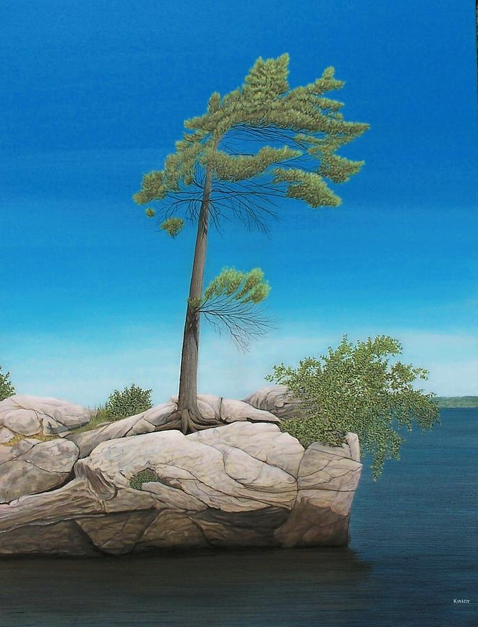Landscapes Painting - Tree In Rock by Kenneth M  Kirsch
