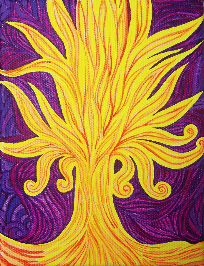 Cosmism Painting - Tree Of Fire by Lola Lonli