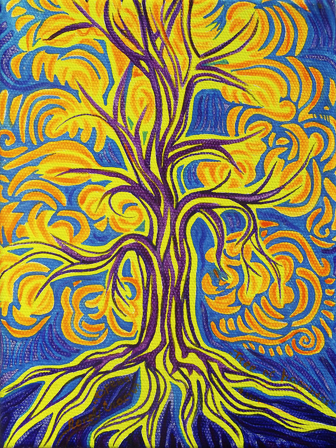 Cosmism Painting - Tree Of Happiness by Lola Lonli