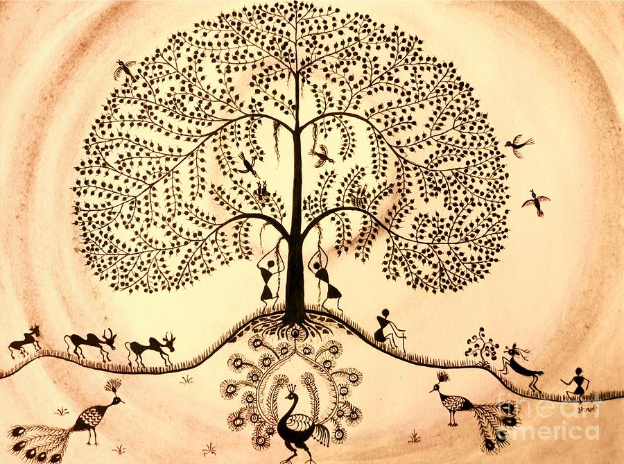 Warli Tree Painting - Tree Of Life II by Anjali Vaidya
