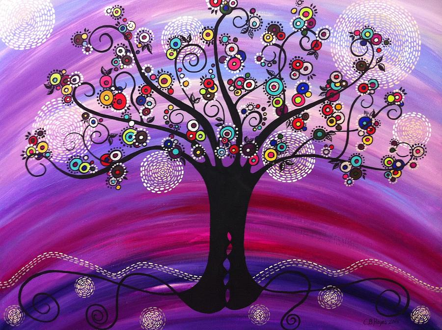 Tree Of Life In Violet Painting By Catherine Barry