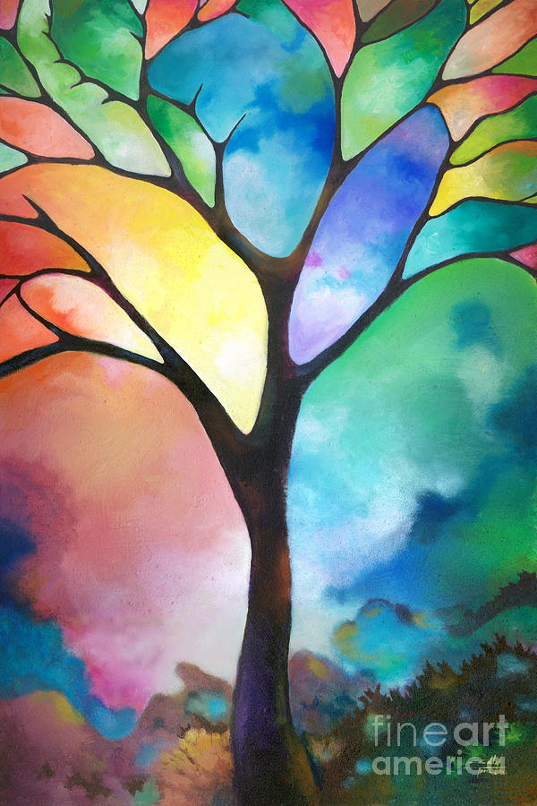 Tree painting original art abstract art acrylic painting tree of light by sally trace fine