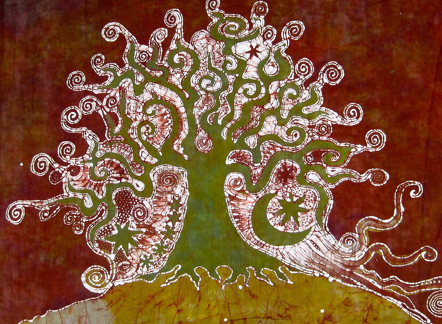 Batik Tree Tapestry - Textile - Tree On A Hill by Victoria Dresdner
