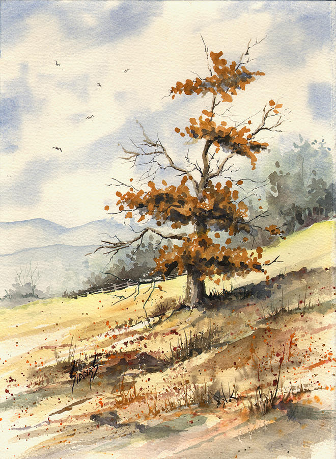Tree Painting - Tree On A Hillside by Sam Sidders