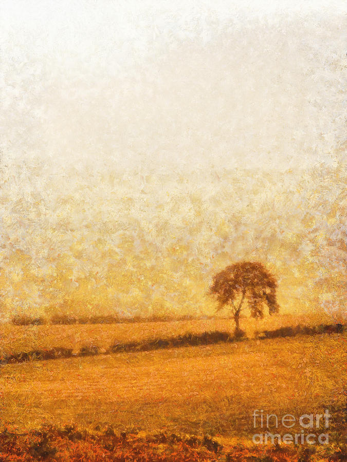 Tree Painting - Tree On Hill At Dusk by Pixel  Chimp
