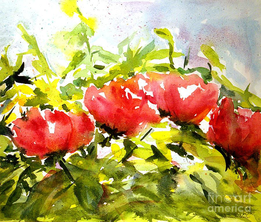 Watercolor Painting - Tree Peonies by Gwen Nichols
