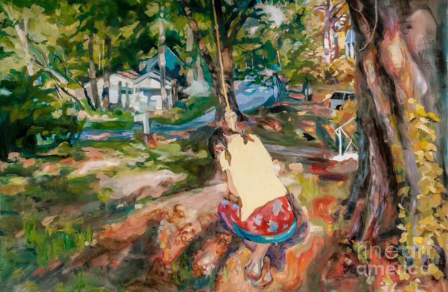 Tree Swing Painting by Mia Merlin