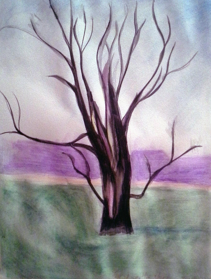Landscape Painting - Tree Watercolor by Loretta Nash