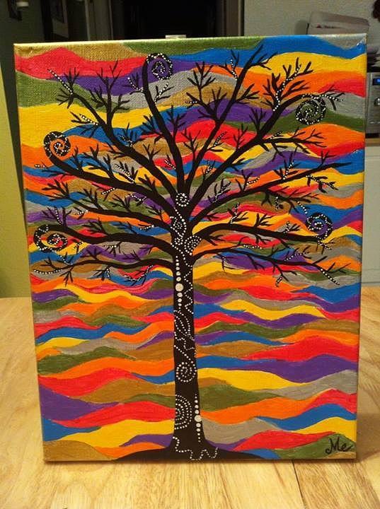 Tree Painting - Tree Waves by Mandy Ellanna