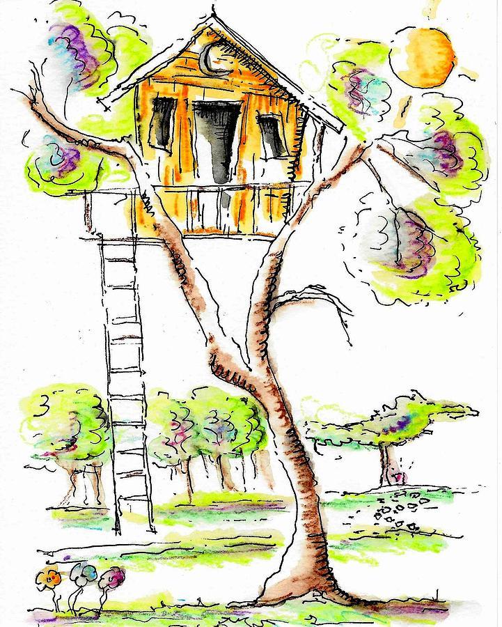 Treehouse Drawing - Treehouse by Jason Nicholas