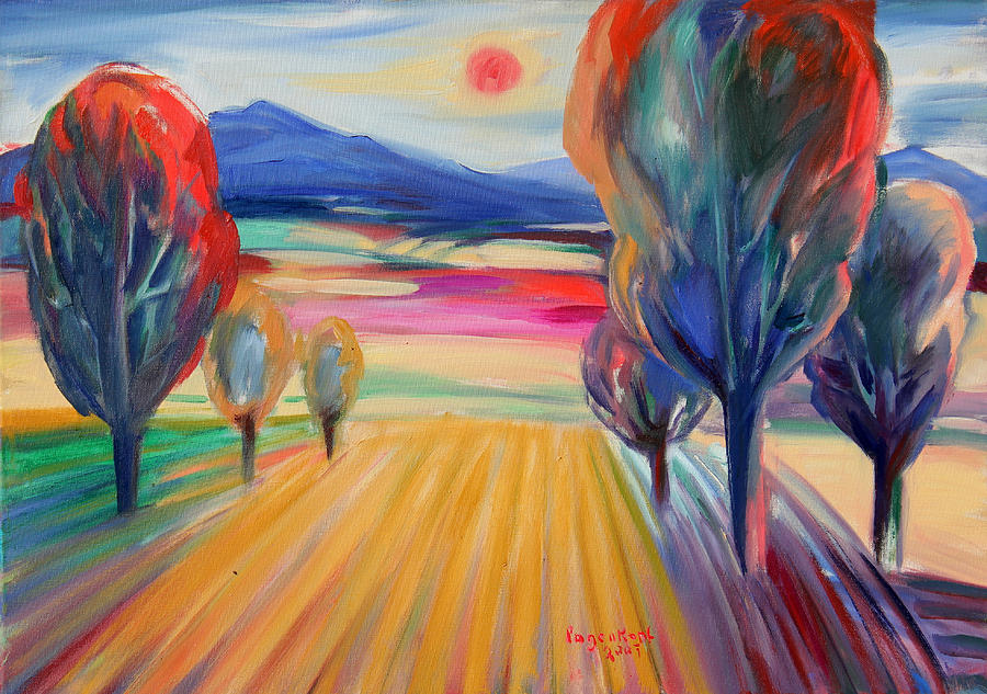 Landscape Painting - Trees And Fields by Monika Pagenkopf