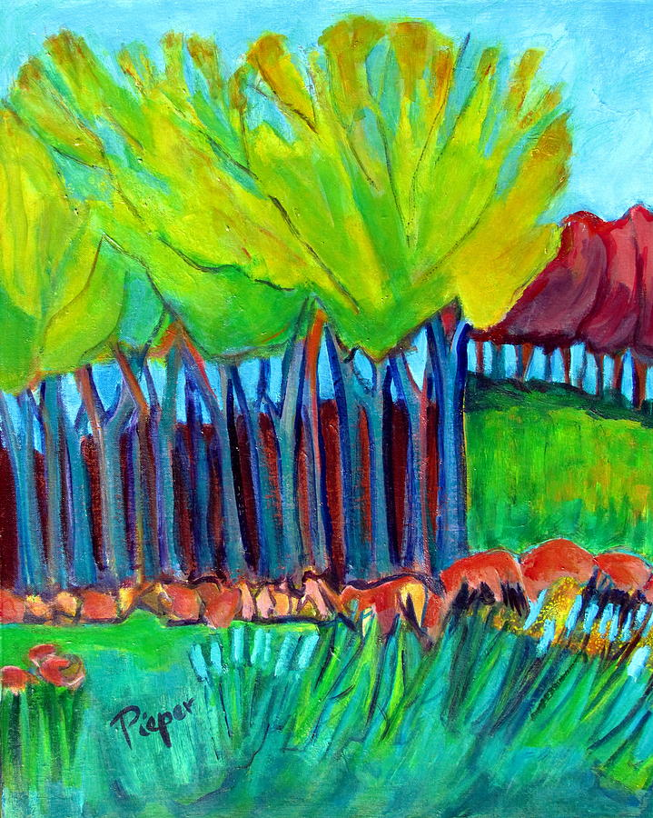 Trees And Meadow Painting by Betty Pieper