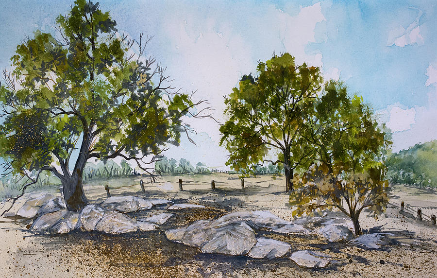 Trees And Rocks Painting