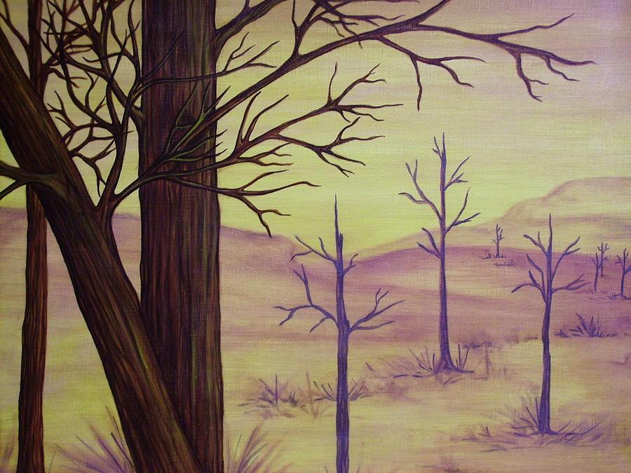 Landscape Painting - Trees In Gold Landscape by Jan Wendt