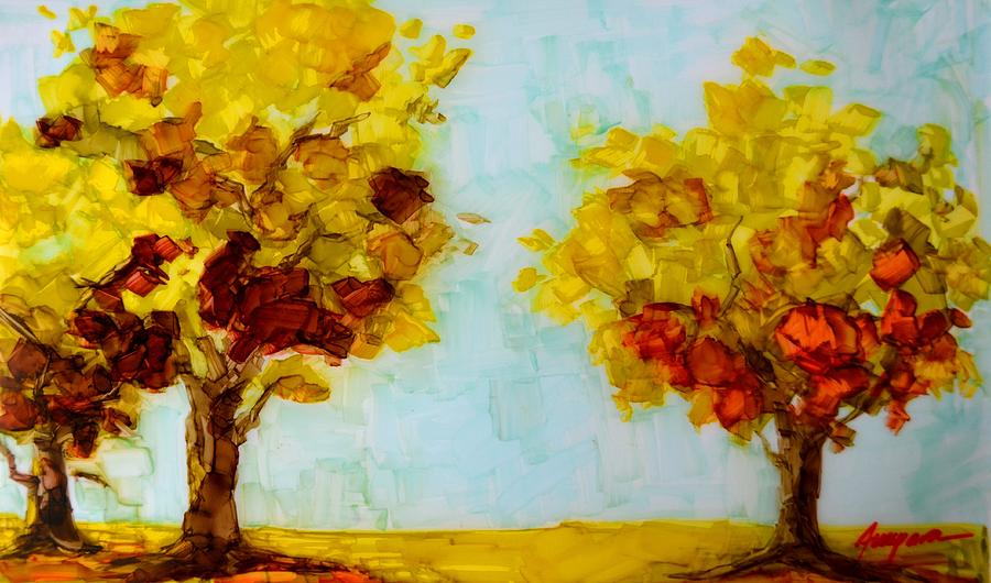 Landscape Painting - Trees In The Fall by Patricia Awapara