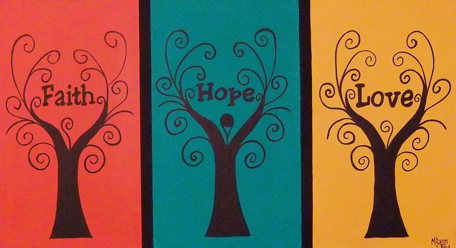 Tree Painting - Trees Of Faith Hope Love Triptic by Cindy Micklos