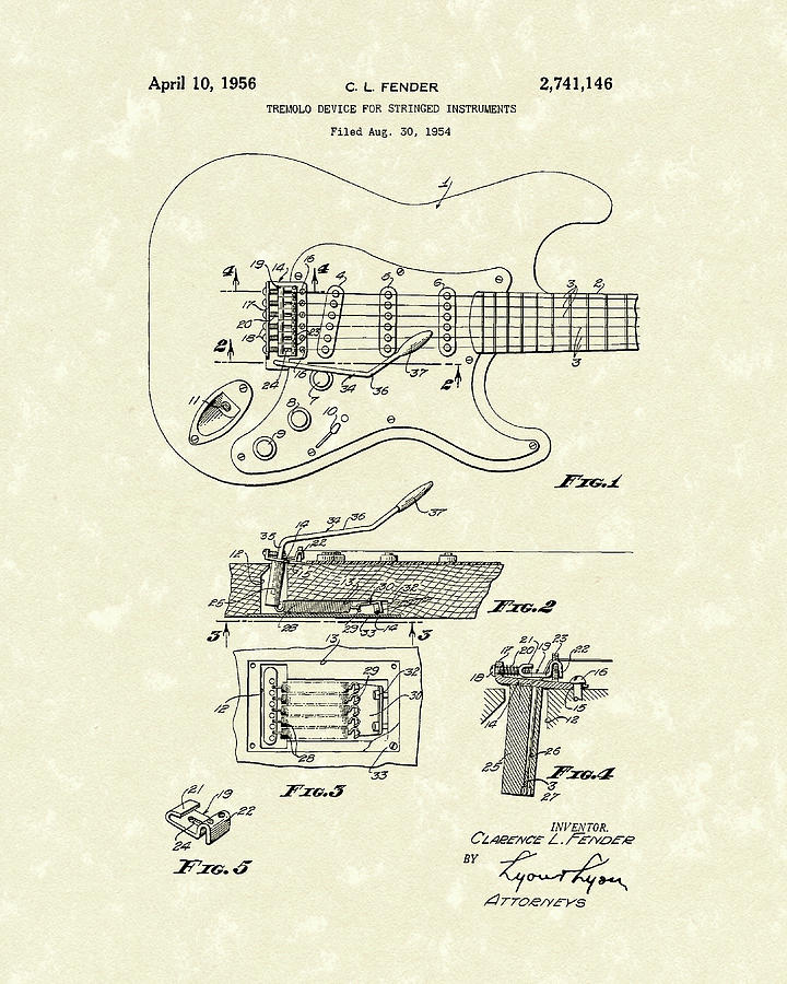 Fender Drawing - Tremolo Device 1956 Patent Art by Prior Art Design