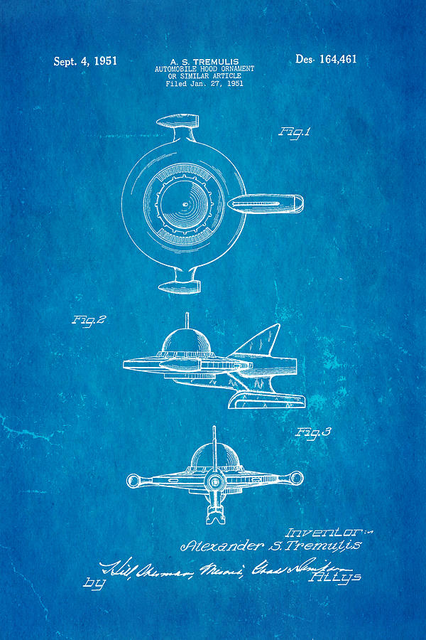 Automotive Photograph - Tremulis Spaceship Hood Ornament Patent Art 1951 Blueprint by Ian Monk