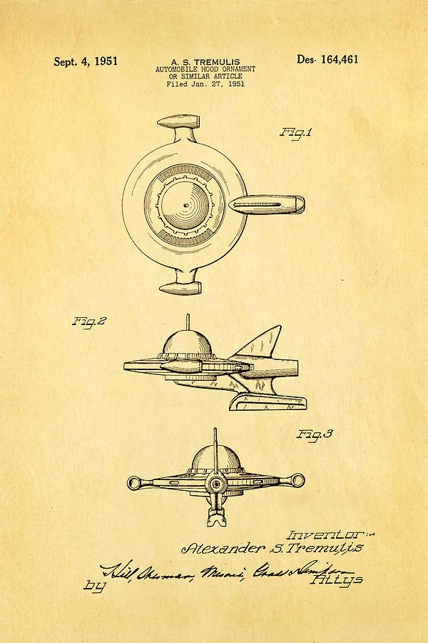 Automotive Photograph - Tremulis Spaceship Hood Ornament Patent Art 1951 by Ian Monk