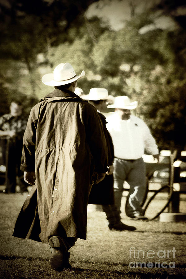 Country Photograph - Trenchcoat Cowboy by Trish Mistric