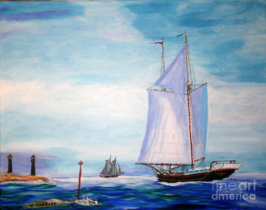 Coasting Schooners Painting - Trending Into Maine - Coasters Meeting by Bill Hubbard