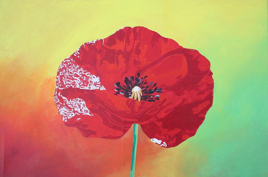 Poppy Painting - Trendy Poppy  by Tracey Harrington-Simpson