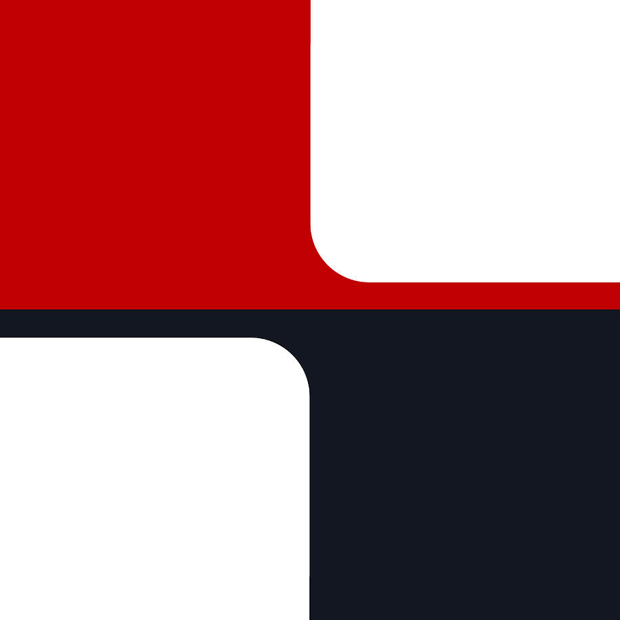 Colorblock Digital Art - Trendy White Red And Navy Graphic Color Blocks by Tracie Kaska