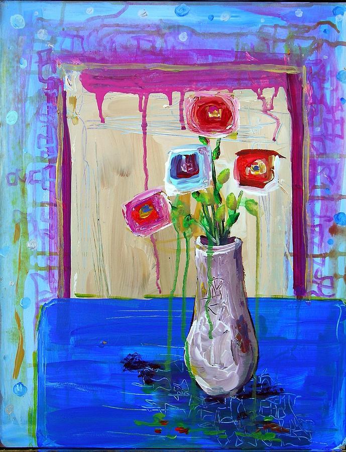 Abstract Painting - Tres Amigos by Dawn Gray Moraga