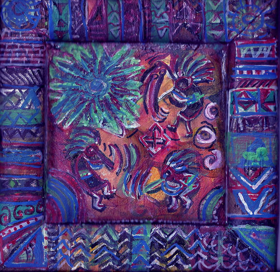 Colorful Painting - Tres Amigos Kokopellis by Anne-Elizabeth Whiteway