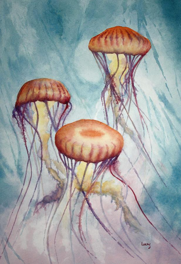 Jellyfish Painting - Tres Jellyfish by Jeff Lucas