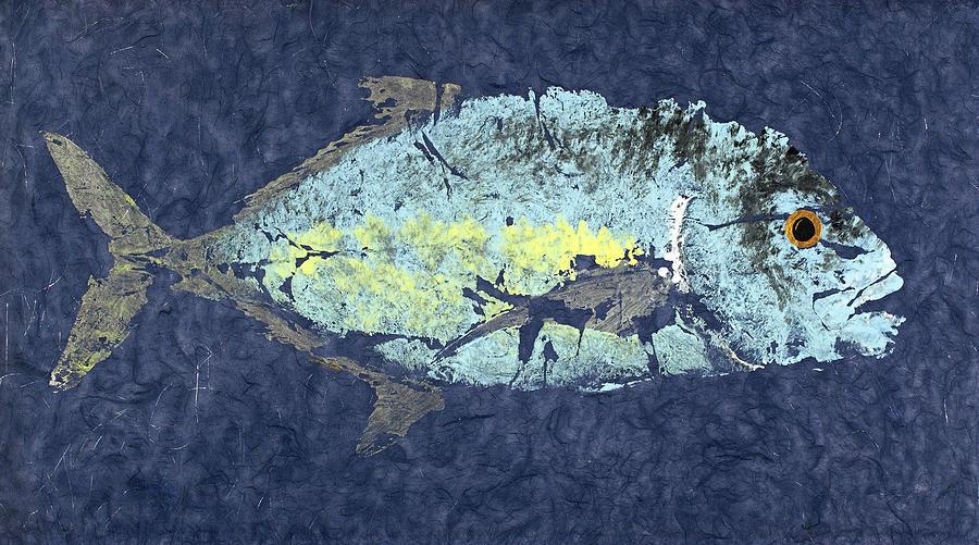 Gyotaku Painting - Gyotaku Trevally by Captain Warren Sellers