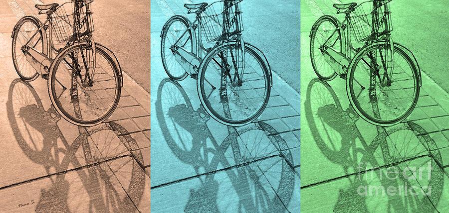 Bikes Photograph - Tri-coloured Bicycle Print by Nina Silver