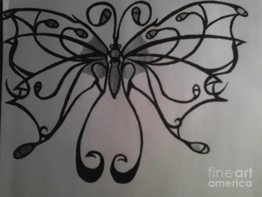 Butterfly Drawing - Tribal Butterflly by K Kagutsuchi Designs