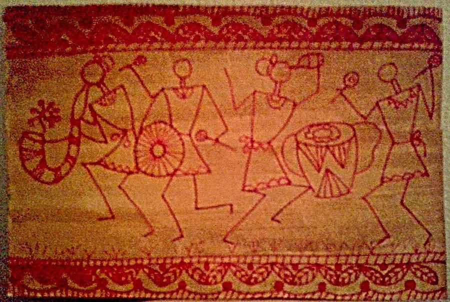 Tribal celebration original acrylic on paper warli painting painting christmas gift painting tribal celebration original acrylic on paper warli painting by mrudul kolhatkar altavistaventures Image collections