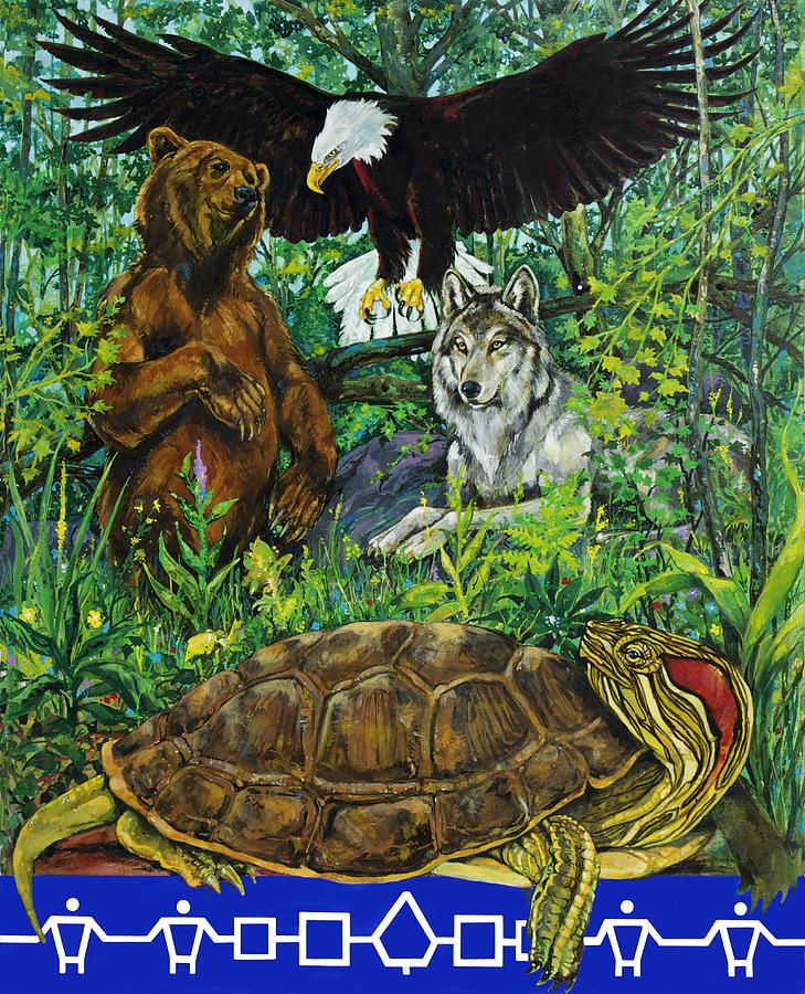 Haudenosaunee Painting - Tribal Gathering by Derrick Higgins