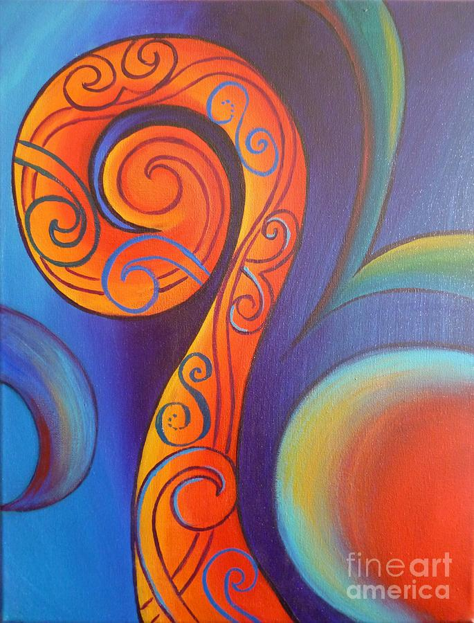 Tribal Koru Red Painting By Reina Cottier