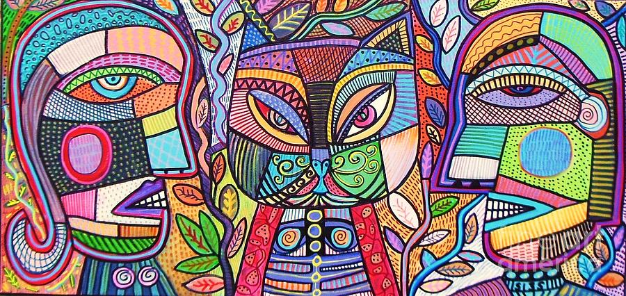 Tribal Mosaic Cat Garden Painting by Sandra Silberzweig