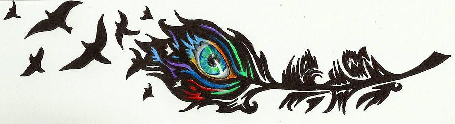 Tribal Peacock Feather Drawing by Melissa Sink