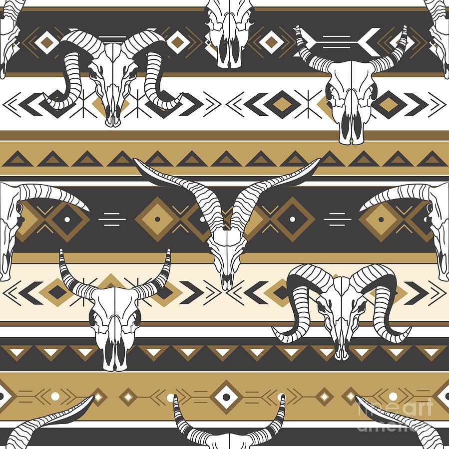 Symbol Digital Art - Tribal Seamless Pattern With Skulls Of by Talirina