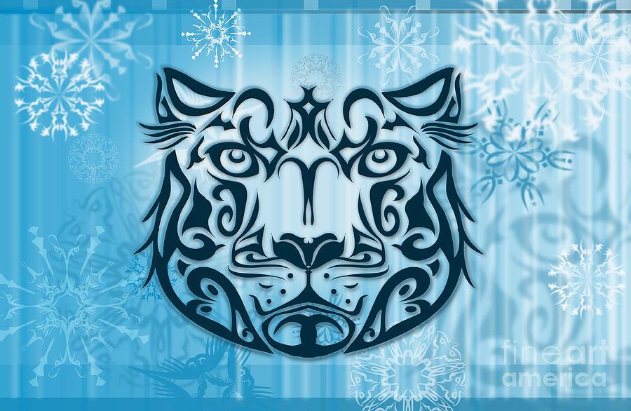 Vector Digital Art - Tribal Tattoo Design Illustration Poster Of Snow Leopard by Sassan Filsoof