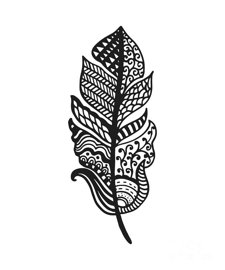 Feather Digital Art - Tribal Vector Feather. Hand Drawn by Qilli