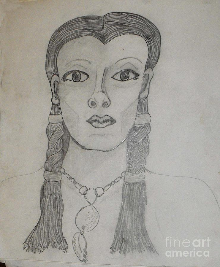 Tribal Drawing - Tribal Woman by Catherine Ratliff