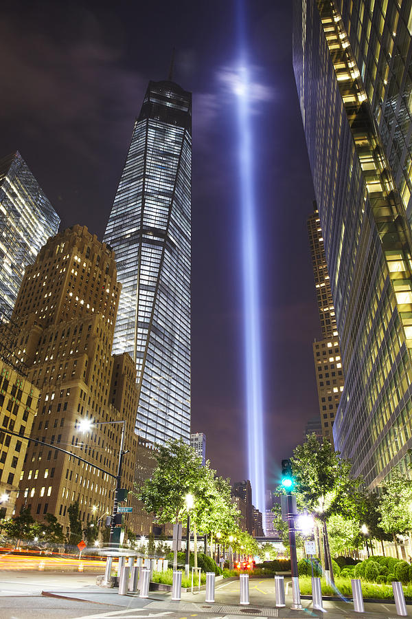 New York City Photograph - Tribute In Light And Freedom Tower by Alex Llobet
