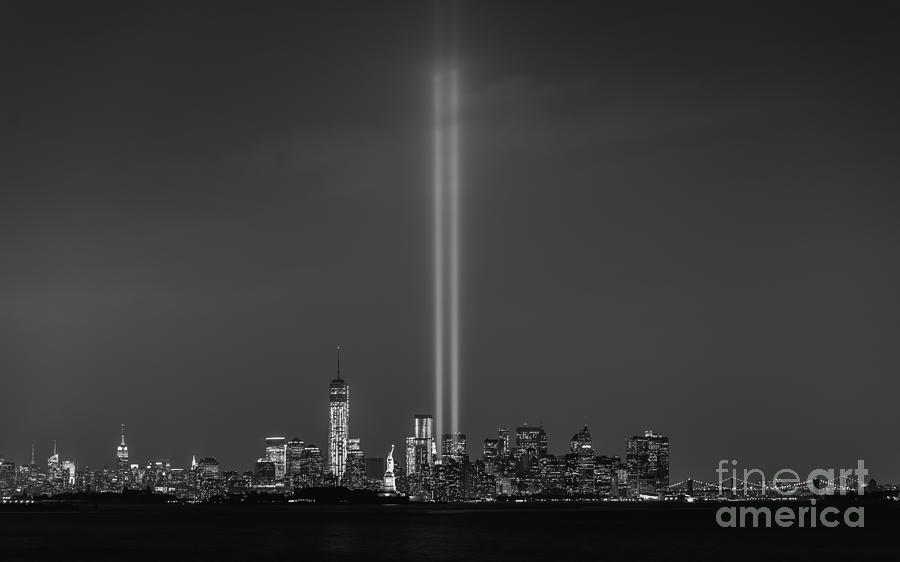 Nyc Photograph - Tribute Lights Bw by Michael Ver Sprill